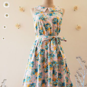 Floral Fancy : Blue Floral Dress Peter Pan Collar Pink Illusion Dress Tea Party Dress Floral Sundress Floral Bridesmaid Dress -Size S,M,L