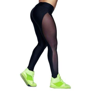 PEAPON Women Sheer Sporting Leggings Mesh Splice Stretchy Fitness Feminina Workout Clothes For Women Bodycon Pants  Legins