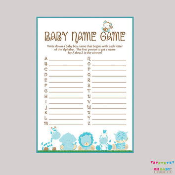 Baby Name Game Boy Safari Baby Shower - Baby Name Race Game - Printable Download - A to Z Baby Game Blue Safari Baby Shower Game - BS0001-B