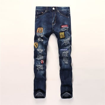 Ripped Holes Embroidery Slim Pants Jeans [6541749379]