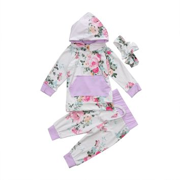 Baby Clothing Autumn Winter Baby Girls Patchwork Hooded Sweatshirt +Floral Pants +Headband 3Pcs Outfits Set Clothes