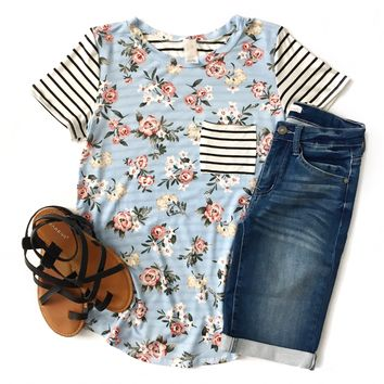 Light Blue Floral Striped Sleeve Top
