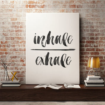 "Watercolor typography art""Inhale Exhale""Meditation Inspirational poster Yoga print Yoga poster Yoga wall art Home decor Wall Art WATERCOLOR"