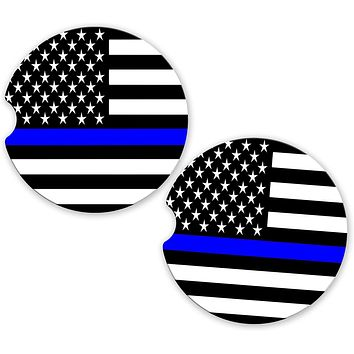 Thin Blue Line Police Officers Car Sandstone Cup Holder Matching Coaster Set