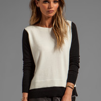 Autumn Cashmere 2-Tone Layered Boatneck Sweater in White