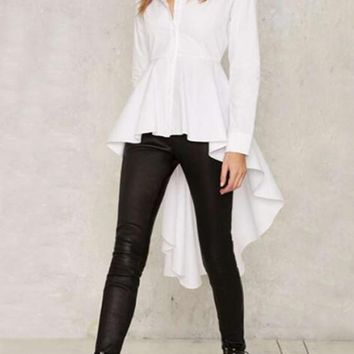 White Pleated Swallowtail Single Breasted Draped High-low Turndown Collar Work Out Blouse