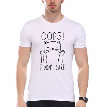 2017 New Casual Men's T-shirts I Don't Care Cat Print Letter Funny Men Summer Cool White Hipster Animal Tees pb097