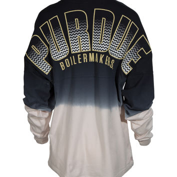 Official NCAA Purdue University Boilermakers Purdue Pete Long Sleeve Dip Dye Spirit Wear Jersey T-Shirt