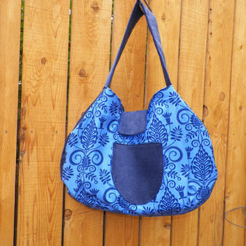 Midnight Blue Le Croissant Sac Collection Hobo Style Large Shoulder Bag