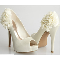 Allure Bridals-Sleek Ivory Satin Flower Peep Toe Heel - Unique Vintage - Cocktail, Pinup, Holiday & Prom Dresses.