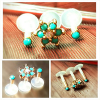 "Turquoise Rose Gold Flower Tragus Cartilage Earring Forward Helix Triple Stud 16g 1/4-5/16"" Piercing Barbell Surgical Steel Bioplast Jewelry"