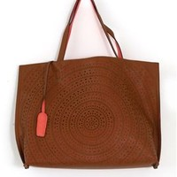 Laser Cut Reversible Tote Purse with Mini Bag in Brown and Salmon 8024