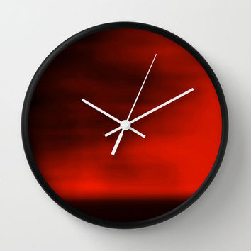 Red Blurred Sky Wall Clock, Abstract Photography, Nature Photography, Landscape Photography, Minimalist Photo, Red Clock, Crimson