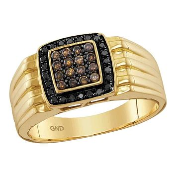 10kt Yellow Gold Men's Round Cognac-brown Black Color Enhanced Diamond Square Cluster Band Ring 3/8 Cttw - FREE Shipping (US/CAN)