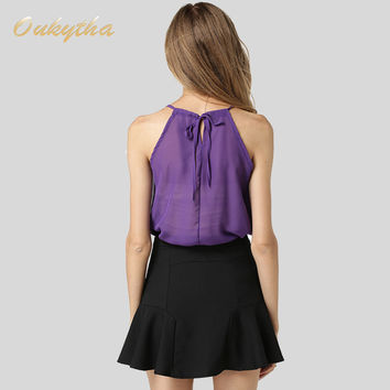 Oukytha 2017 Sexy Lace Chiffon Shirt Size All-match Slim Vest Female Backing Double Exposed Collarbo