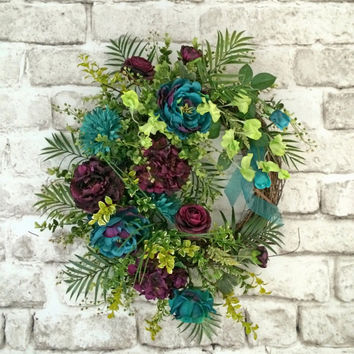 Teal and Plum, Summer Wreath for Door, Front Door Wreath, Summer Outdoor Wreath, Silk Floral Wreath, Grapevine Wreath, Turquoise, Purple