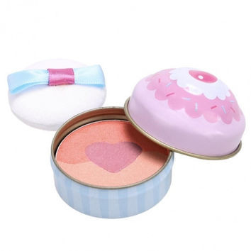 3 Colors Face Pressed Powder Blush Blusher Soft Natural Cheek Makeup Cosmetics With Puff