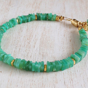 Chrysoprase Square Gemstone Tennis Style Beaded Bracelet, Gold Vermeil Beads, Gorgeous Boho Chic Stack Layering High Fashion Bracelet