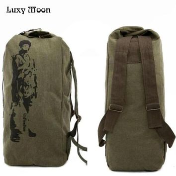 New 2017 canvas backpack High capacity  bag casual backpack Army Bucket Bag Multifunctional Military Canvas Backpack Duffle Bag