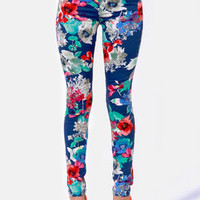 Graphic Violets Blue Floral Print Pants