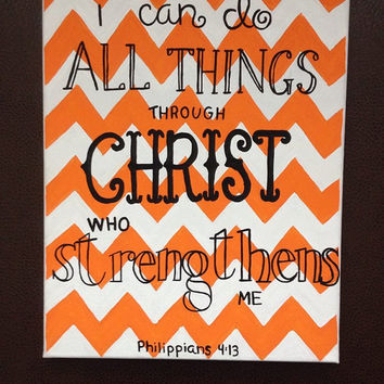 "11x14 Canvas ""I can do all things through Christ who strengthens me"" Philippians 4:13"