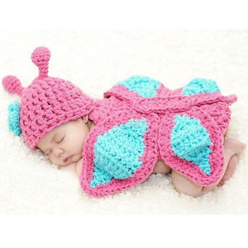 New Baby Girl Beanie Hat Cap Cloth Romper Butterfly Knit Photo Prop Outfit 18497 Apparel & Accessories = 1958001988