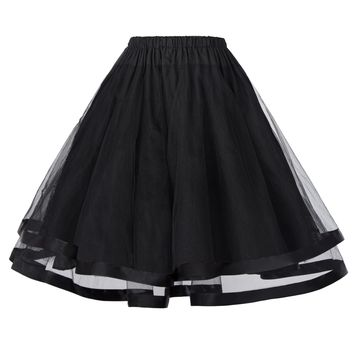 Women Underskirt Crinoline fluffy pettiskirt Retro Vintage 3 Layers Tulle Netting Tutu Skirt Silps swing Rockabilly Petticoat