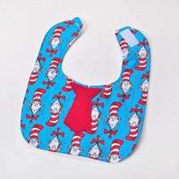 Baby Bib with Tie - Dr Seuss with Red Tie - Infant Tie Bib - Baby Gift Idea, Baby Boy or Girl, Feeding Bib, Drool Bib