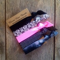 The Pink Sophisticated Hair Tie Ponytail Holder Collection by Elastic Hair Bandz