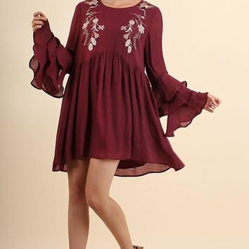 Floral Layered Ruffled Sleeve Dress - Mulberry
