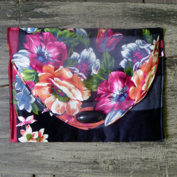 Refashioned Black Silk Floral Envelope Clutch Purse