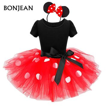 2017 Summer New minnie mouse kids dress princess costume party children clothing Cosplay Girls Minnie Dress+Headband Baby