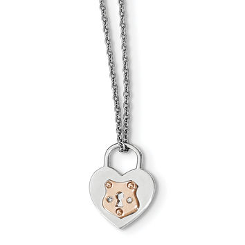 SS White Ice Diamond Rose Gold-plated Heart Lock w/2IN EXT Necklace QW400
