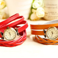 6 Colors Handmade leather watch, Bracelet watch wrap watch,Women And Men wrap watch,Multi-Circle leather watch,best gift for christmas -B19