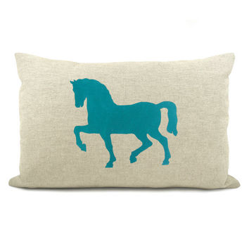 Decorative pillow case - Teal blue horse print on a natural linen canvas front and zebra print back - 12x18 accent cover