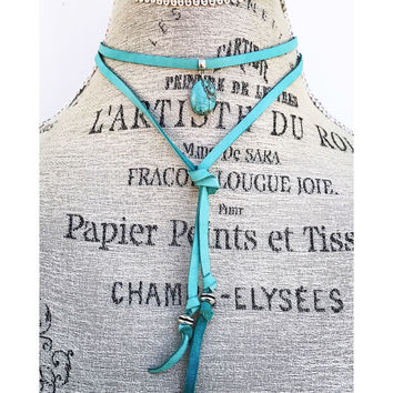 Lariat Choker Necklace in Turquoise Suede Cord
