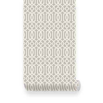 Trellis Pattern Warm Grey Fabric Removable Wallpaper