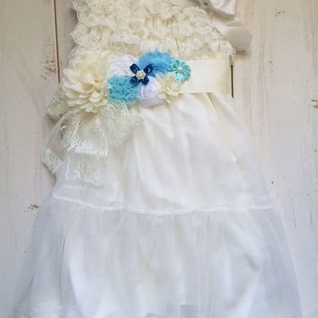 Rustic girl dress and aqua, blue, flower sash, belt, country Ivory lace chiffon, flower girl, bridal wedding, pink, shabby chic, vintage