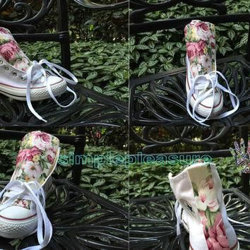 Floral Chucks, Custom Floral Converse High Tops, Custom All Star Sneakers Girls, Custo