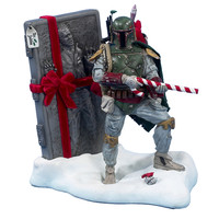 Santa's Little Helper Collection 8-Inch Fabric Mache Star Wars Boba Fett Tablepiece