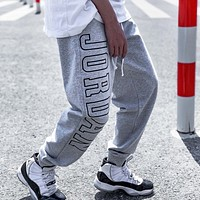 Jordan New fashion embroidery letter couple sports leisure pants Gray