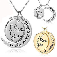 """I Love You To The Moon And Back""  Stamped Charm Necklace"
