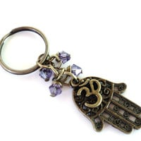 Hamsa Keychain Om Bag Charm Keyring Protection Yoga Accessories Purple Unique Birthday Gift Under 20 Item G46