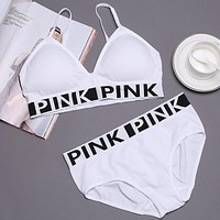 """Pink"" Victoria's Secret Casual Sport Gym Yoga Bra Underwear Lingerie Two Piece Set White"