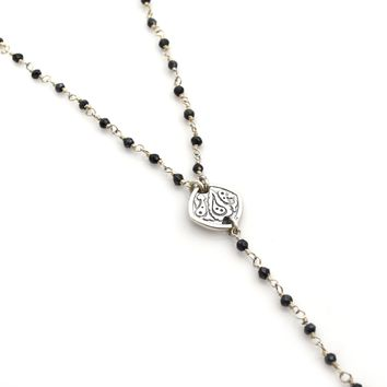Black Spinel and Sterling Silver Rosary Chain Y Necklace