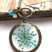 Teal Queen Anne Lace Resin Necklace - Real flower in open back Pocket Watch Bezel, Pressed Flower Jewelry - Resin Necklace - Resin Jewelry