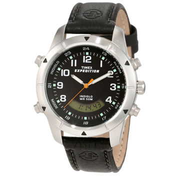 Timex T49827 Men's Expedition Black Analog-Digital Leather Strap Chronograph Watch