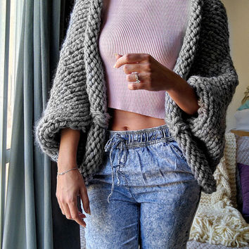 Chunky Knit Cardigan, Slouchy Knit Wool Sweater, Oversized Knit Cardigan, Thick Knit Sweater, Knit Oversized Sweater, Oversized Knit Sweater