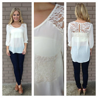 Cream Lace Pocket Blouse