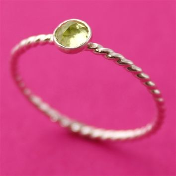 Faceted Peridot Stacking Ring - Spiffing Jewelry
